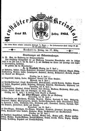 Neustädter Kreisblatt vom 17.03.1854