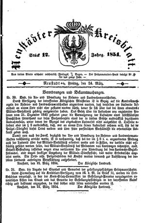 Neustädter Kreisblatt vom 24.03.1854