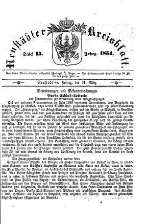 Neustädter Kreisblatt vom 31.03.1854