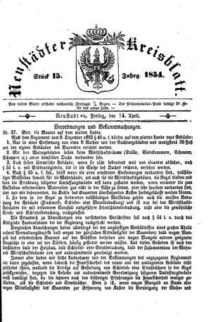 Neustädter Kreisblatt vom 14.04.1854