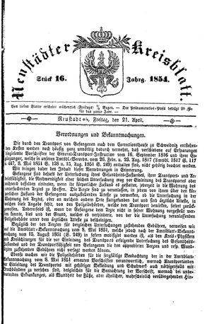 Neustädter Kreisblatt vom 21.04.1854