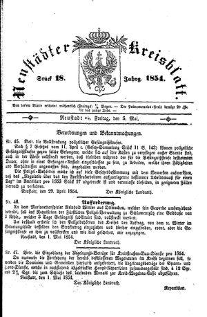 Neustädter Kreisblatt vom 05.05.1854