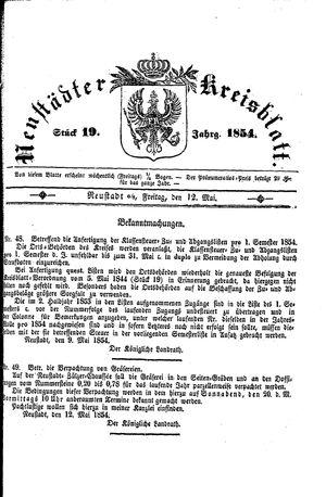 Neustädter Kreisblatt vom 12.05.1854