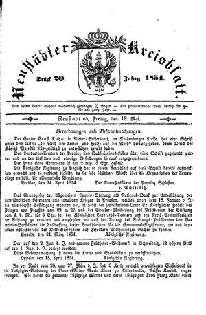 Neustädter Kreisblatt vom 19.05.1854