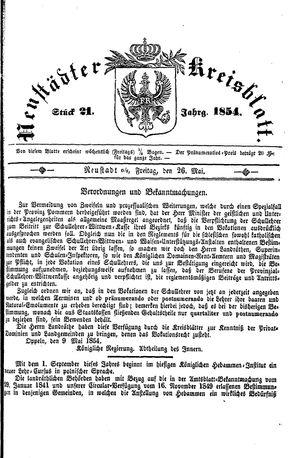Neustädter Kreisblatt on May 26, 1854