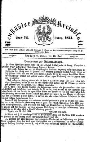 Neustädter Kreisblatt vom 16.06.1854