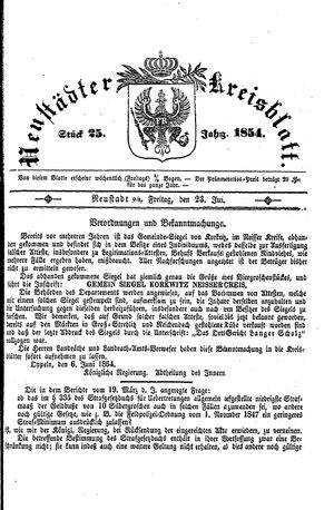 Neustädter Kreisblatt vom 23.06.1854