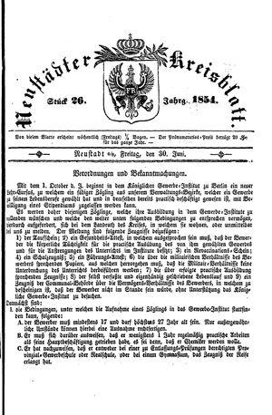 Neustädter Kreisblatt vom 30.06.1854