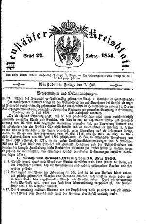 Neustädter Kreisblatt vom 07.07.1854