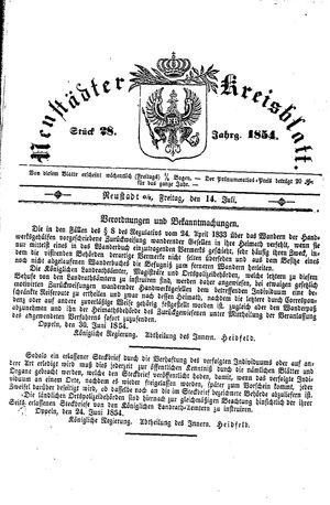 Neustädter Kreisblatt vom 14.07.1854
