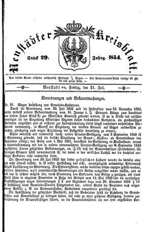 Neustädter Kreisblatt vom 21.07.1854