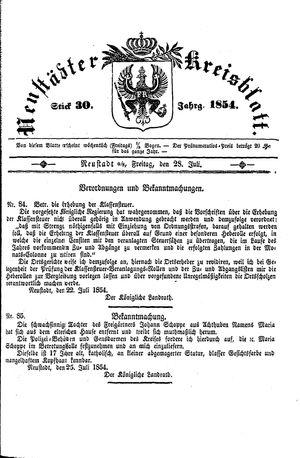 Neustädter Kreisblatt vom 28.07.1854