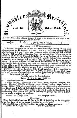 Neustädter Kreisblatt vom 04.08.1854