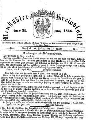 Neustädter Kreisblatt vom 11.08.1854