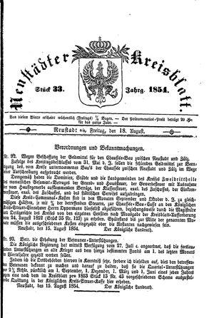 Neustädter Kreisblatt vom 18.08.1854