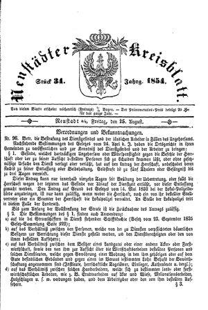 Neustädter Kreisblatt vom 25.08.1854