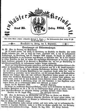 Neustädter Kreisblatt vom 01.09.1854