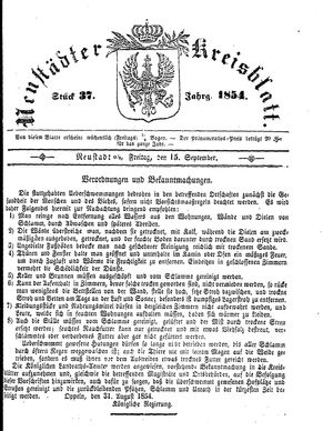 Neustädter Kreisblatt vom 15.09.1854