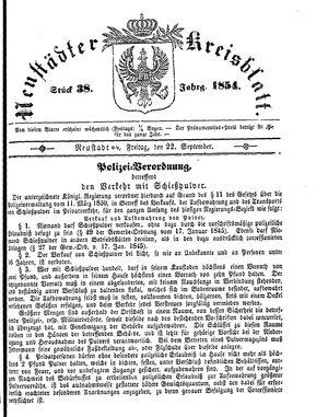 Neustädter Kreisblatt vom 22.09.1854