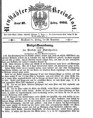 Neustädter Kreisblatt on Sep 29, 1854