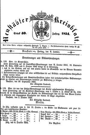 Neustädter Kreisblatt vom 06.10.1854