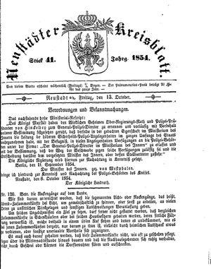 Neustädter Kreisblatt vom 13.10.1854