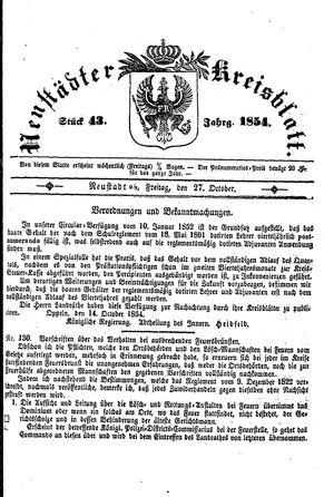 Neustädter Kreisblatt vom 27.10.1854