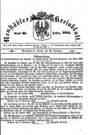 Neustädter Kreisblatt vom 10.11.1854