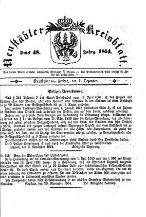 Neustädter Kreisblatt on Dec 1, 1854