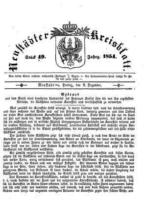 Neustädter Kreisblatt vom 08.12.1854