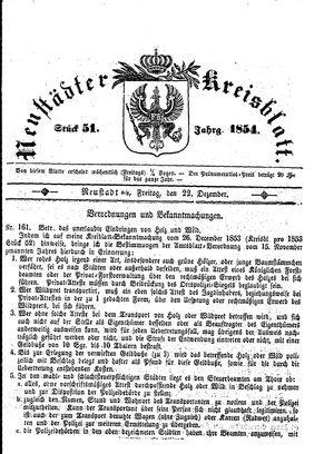 Neustädter Kreisblatt on Dec 22, 1854