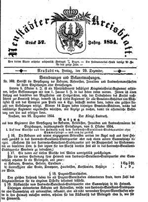 Neustädter Kreisblatt vom 29.12.1854