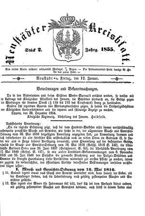 Neustädter Kreisblatt vom 12.01.1855