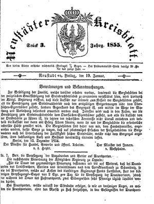 Neustädter Kreisblatt vom 19.01.1855