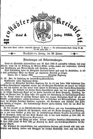 Neustädter Kreisblatt vom 26.01.1855