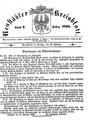 Neustädter Kreisblatt vom 16.02.1855