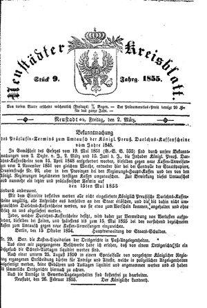 Neustädter Kreisblatt on Mar 2, 1855