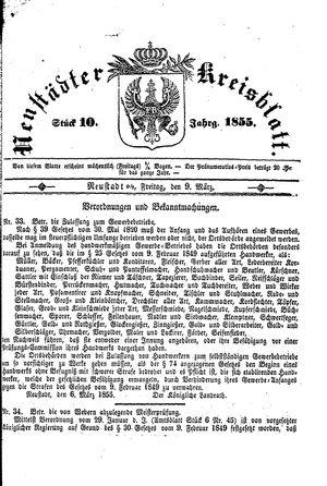 Neustädter Kreisblatt vom 09.03.1855