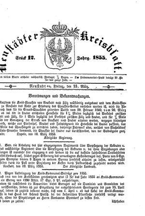 Neustädter Kreisblatt vom 23.03.1855