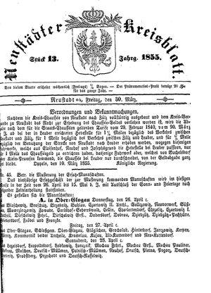 Neustädter Kreisblatt vom 30.03.1855