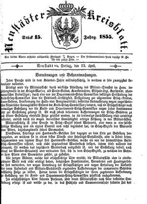 Neustädter Kreisblatt vom 13.04.1855