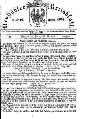 Neustädter Kreisblatt vom 20.04.1855