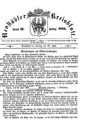 Neustädter Kreisblatt vom 27.04.1855
