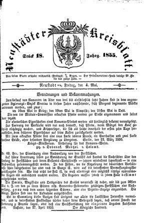 Neustädter Kreisblatt vom 04.05.1855