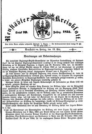 Neustädter Kreisblatt vom 18.05.1855