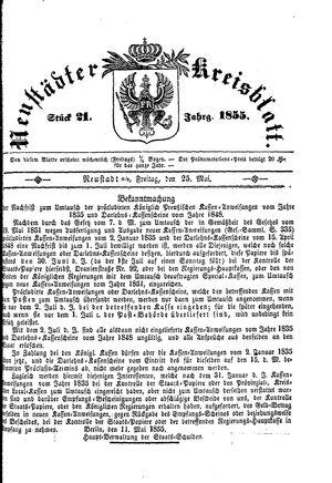 Neustädter Kreisblatt vom 25.05.1855