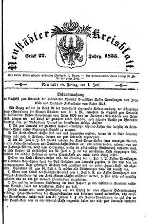 Neustädter Kreisblatt on Jun 1, 1855