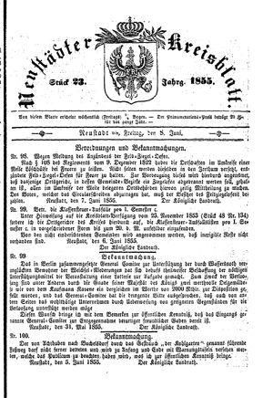 Neustädter Kreisblatt vom 08.06.1855