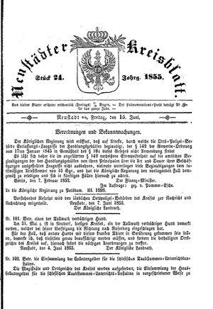 Neustädter Kreisblatt vom 15.06.1855
