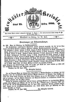 Neustädter Kreisblatt vom 22.06.1855